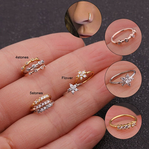 Nose Piercing Body Jewelry Cz Nose Hoop Nostril Nose Ring Tiny Flower Helix Cartilage Tragus Ring