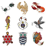 Rhinestone Painting Oil Animal Brooch Parrot Butterfly Mouse Spider Owl Animal Enamel Brooch Pin Women Kid Clothes Scarf Jewelry