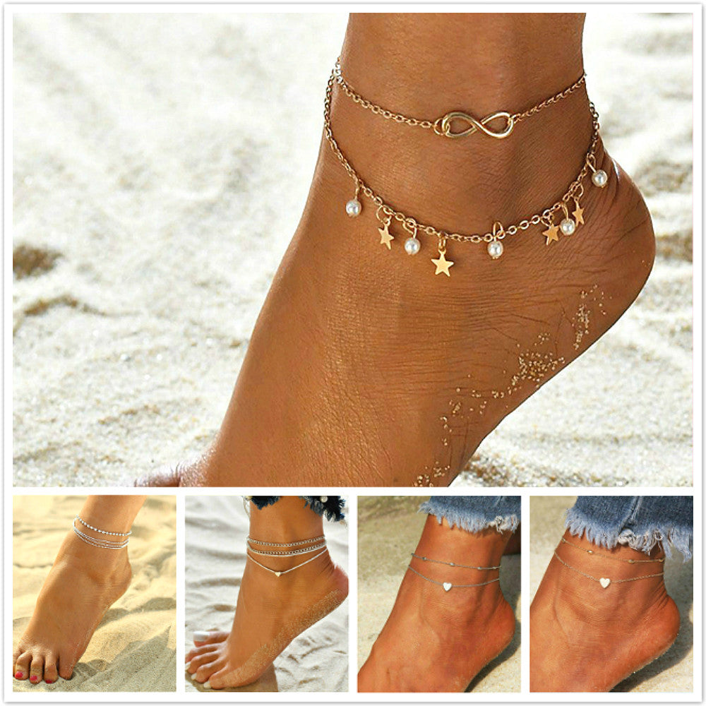 2019 New Arrivals More Layer Star Pendant Anklet Foot Chain 2019 New Summer Yoga Beach Leg Bracelet Charm Anklets Jewelry Gift