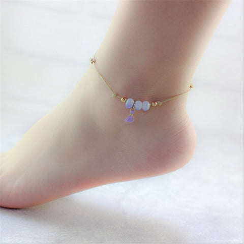 Beach Barefoot Summer Style Infinite Ceramic Beads Anklet Adjustable Rope Chain Bell Tassel Ankles Bracelet Foot Women Jewelry