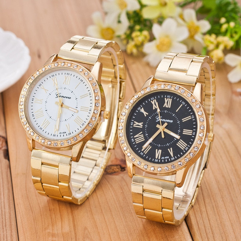 Classic Women's Gold Geneva Watch