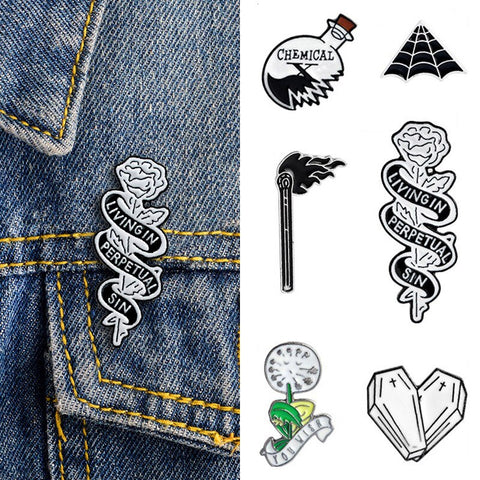 2019 Pins and brooches Science Chemical Heart Cobweb Matches Rose Knife enamel pin Badges Hat Backpack Accessories jewelry Gift