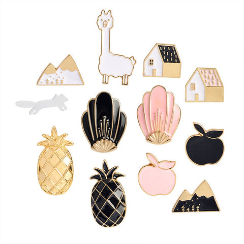 2018 fashion Cartoon Enamel Pins Fruit Pineapple Apple Brooches Pin Badges Cute Metal Animal Horse Brooches Pins For Women