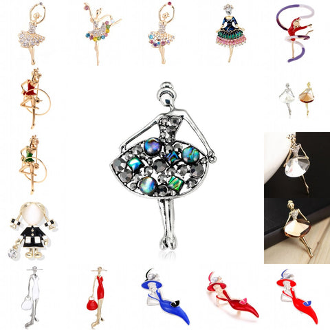 2019 Hot 16 Styles Trendy Crystal Brooches Sex Modern Lady Model Dancer Ballerina Brooch Female Hat Sweater Badge Pins For Women