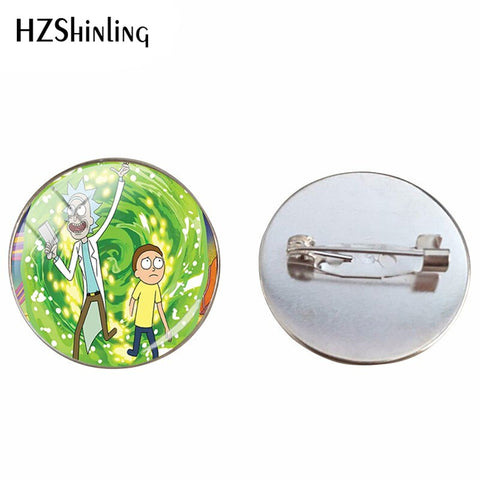 2019 Fashion Silver Metal Brooches Rick and Morty Anime Cartoon Jewelry Glass Canochon Photos Handmade Jewelry Brooch Pins