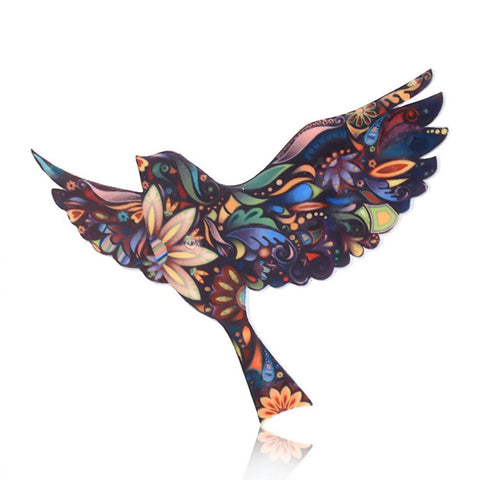 Fashion Women's Vintage Acrylic Bird Brooch Lapel Needle Cloth Brooch Accessories Christmas Gift Jewelry
