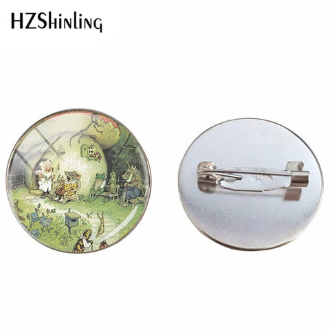Cute Animals Hedgehog Brooches Pins Hedgehog in the Fog Style Vintage Patterns Brooch Fashion Glass Cabochon Jewelry Pins Gifts