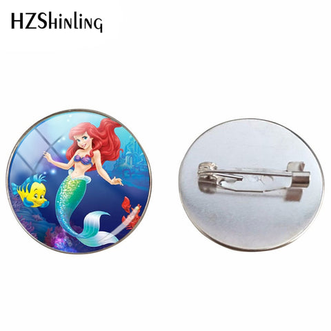 2019 New Arrival Beautiful Mermaid Ariel Printed Brooches Jewelry The Little Mermaid Glass Cabochon Brooch Pins Gift for Friends