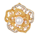 Rhinestone Crystal Hollow Gold Color Brooches Pins Dress Sweater Jewelry Romantic Simulated-pearl women flower Brooch Pin