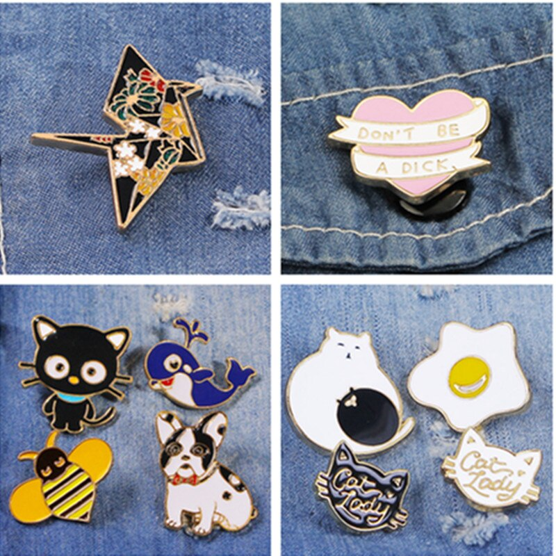 Creative Cartoon Brooches Animal Cat Dog Dolphin Thousand Paper Cranes Letter Love Brooches Pin Kids Bag Clothing Jewelry