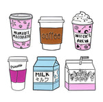 Pink Cute Cartoon Coffee Cup pins Travel cup brooches To go cup badges Milk lapel pins Gift for coffee lover Milk lover