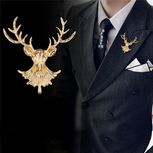 Hot Vintage Unisex Animal Deer Brooch Badge Popular Cute Elk Antlers Head Brooches Pins Clothes Accessories Christmas Gifts