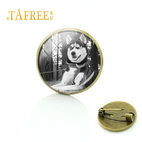 TAFREE Charm Brooches White Tiger Pendant Pin Glass Cabochon Dome Pin Picture Men Badges Fashion Gifts Jewelry ZY76