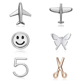 Belleper Silver Color Alloy Metal Airplane Brooch Cute Aircraft Brooches Clip Small Pins Smile Butterfly Number Scissors Jewelry
