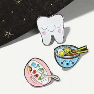 New cute tooth noodle soup bowl brooch children cartoon food brooch gift protection tooth badge jewelry backpack pendant