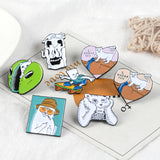 Funny White Cat Lapel Metal Pins Daze Cat Massage butt Alien Face Scooter Brooches Badges Backpack Pins Jewelry Gift For Friends