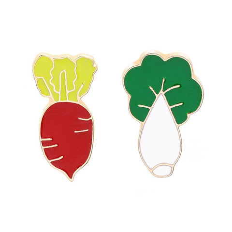 Fashion Brooch Pin Vegetable Theme Brooch Pin Red Radish And Chinese Cabbage Cute Cartoon Jewelry