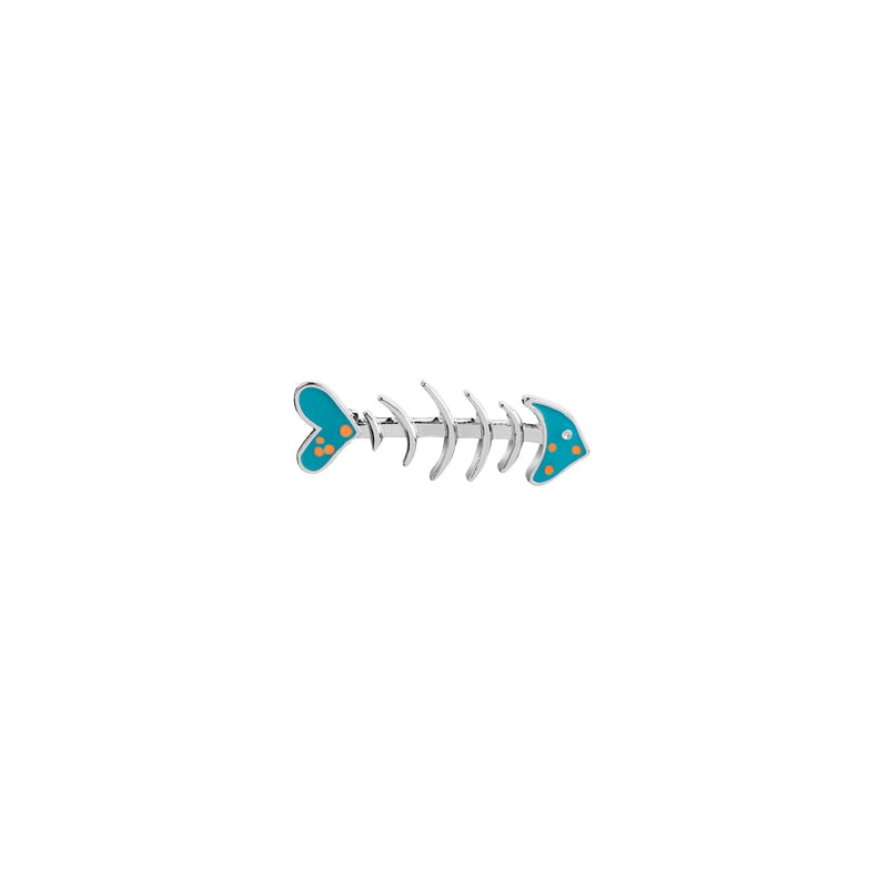 Cute Cartoon Brooch For Women Metal Enamel Jewelry Fish Bone Pin Men Shirt Lape