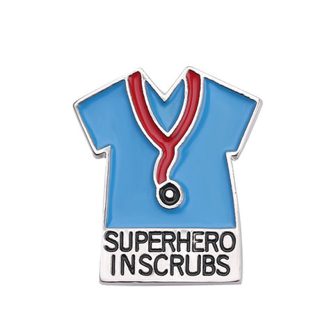Superhero Inscrubs Clothes Brooches for Women Enamel Lapel Pin Badge Nurse Fashion Jewelry Hat Tie Tack Scarf Pins Accessories