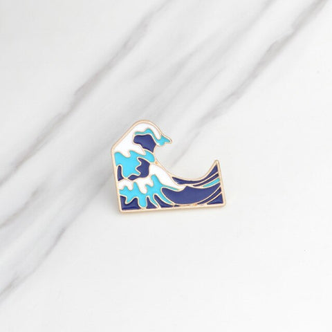 Brooches & pins Ocean wave brooch Men women clothing backpack bag accessories Ocean jewelry Wave jewelry