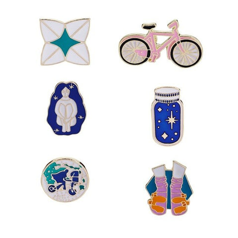New Arrival Enamel pins set Pink bicycle earth wish bottle sock sandal Hard enamel pins Lapel pin Accessories