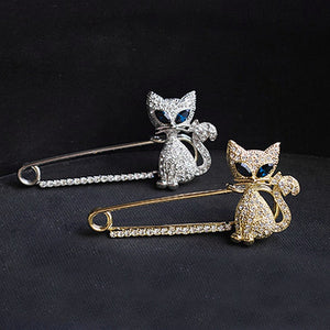 Green Eye Zircon Kitty Pins Badge Sliver Brooches for Women Graduation Gold Brooch Jewelry for Female Enfermera Regalo 2019 New