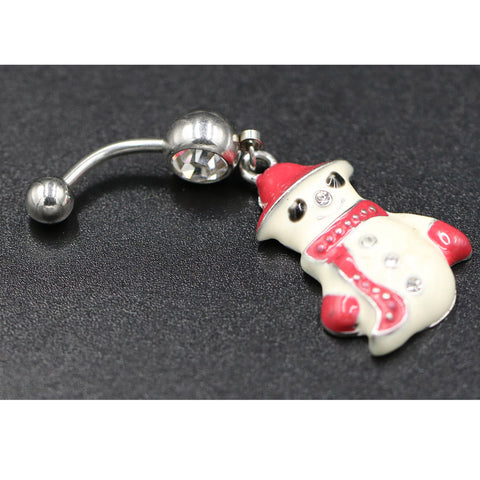 Multi-color Crystal Snowman Dangle Body Piercing Navel Belly Button Ring Bar Women Dance Ring