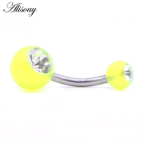Alisouy 1PC Piercing Navel Surgical Steel Single Crystal Rhinestone Belly Button Rings Navel Piercing Ombligo 5mm Ball Nombril