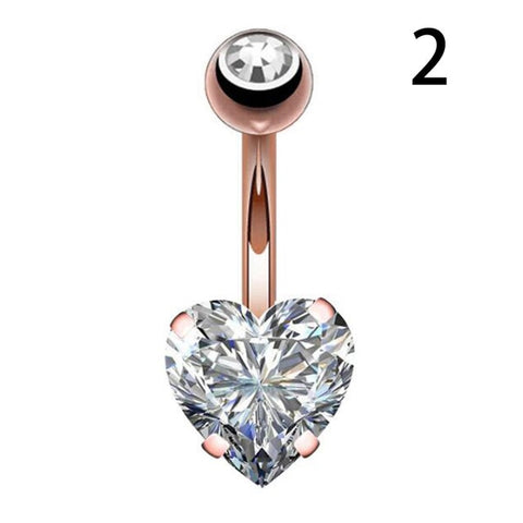 1PC Steel Belly Button Rings Crystal Piercing Navel Heart Style Navel Piercing Earring Belly Piercing Sex Body Jewelry
