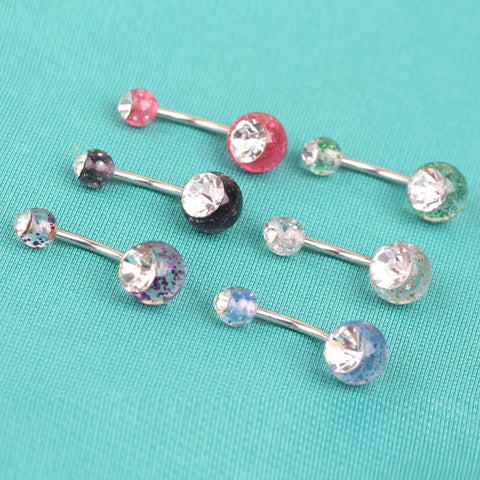 Fashion New Steel Rhinestone Belly Button Rings Barbell Shinning Ball Piercing Body Jewelry