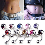 1pc Hot Sale 12 Colors Rhinestones Peice Anti Allergy Simple Lounger Titanium Belly Button Rings Navel Piercing jewelry