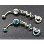 Multi-color Crystal Twist Dangle Body Piercing Navel Belly Button Ring Bar Women Dance Ring
