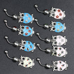 Random delivery Lots Multi-color Crystal Owl Dangle Body Piercing Navel Belly Button Ring Bar Women Dance Ring