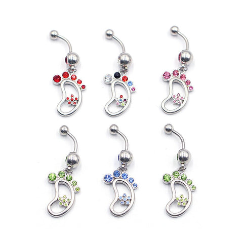 1PC Mixed Color Random Stainless Belly Piercings Navel Piercing Navel Earring Gold Body Jewelry Pircings