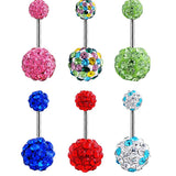 fashion belly button ring Sexy double gem add your own charm Double Crystal CZ belly rings Navel Rings piercing umbigo jewelry