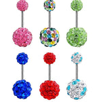 Fashion Women Surgical Steel Tear Drop Rhinestone Button Barbell Bar Belly Navel Ring Body Piercing