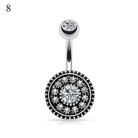 Summer Piercing Navel Bohemian Body Piercing Vintage Stainless Steel Crystal Belly Button Ring For Women Colored Pendant Jewelry