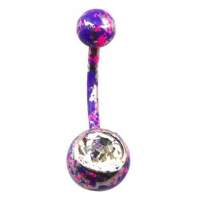 1pc Stainless Belly Button Ring with CZ Gem Navel Bar Piercing Body Jewelry 14G