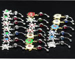 3pcs Lots Multi-color Crystal Turtle Dangle Body Piercing Navel Belly Button Ring Bar Women Dance Ring