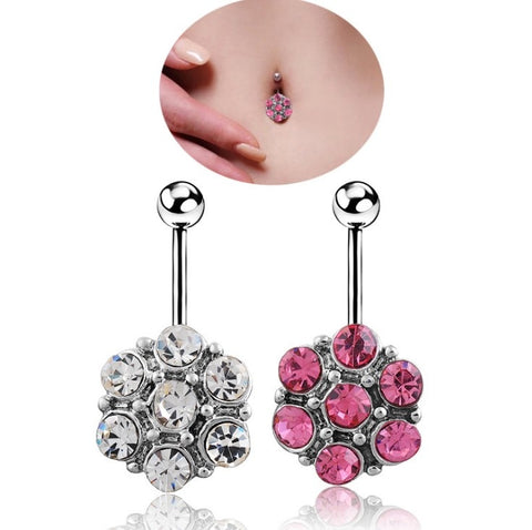 2 Colors Round Cubic Zirconia Geometric Shape Belly Button Ring Piercing Body Jewelry Nightclub Dance 7 rhinestones Brincos