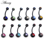 Alisouy Hot 1 PCS Unisex 12 Colors Charm Black Stainless Steel Crystal Ring Body Piercing Jewelry Navel Belly Button jewelry