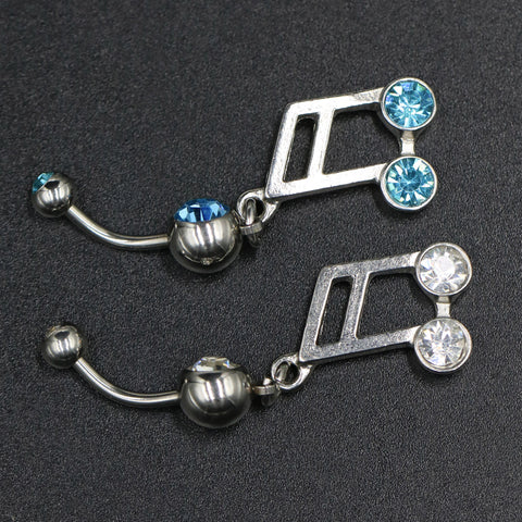 Multi-color Crystal Music Notes Dangle Set Body Piercing Navel Belly Button Ring Bar Women Dance Ring