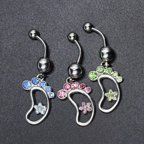 3pcs Multicolor Crystal Foot Feets Dangle Body Piercing Navel Belly Button Ring Bar Women Dance Ring