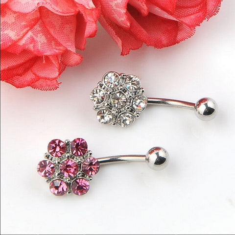 Sexy Dangle Belly Bars Belly Button Rings Belly Piercing Crystal Flower Body Jewelry Navel Piercing Rings