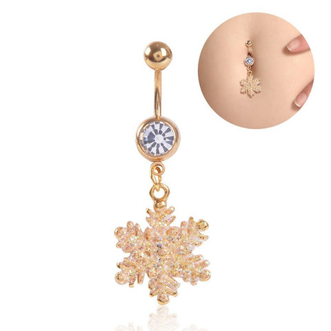 High Quality Golden Snow Flower Shaped Stainless Steel Buckle Gold Color Piercing Navel Belly Button Ring For Christmas Gift