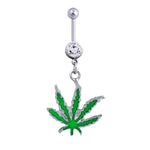 1pc Green Maple Leaf Navel Piercing Belly Button Ring Pircing Industrial Percing Nombril Pircing Ombligo Sexy Pirsing Ombligo
