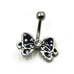 1 Piece CZ gem Jeweled Butterfly  Bow Bowknot Enamel Navel Bar Belly Button Rings Piercing For Women Navel Body Jewelry 14g