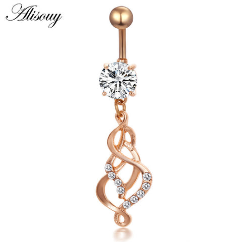 Love Heart Belly Button Rings Bar Gold Color Surgical Steel Navel Piercing Sexy Body Jewelry for Women CZ Navel Piercing rings