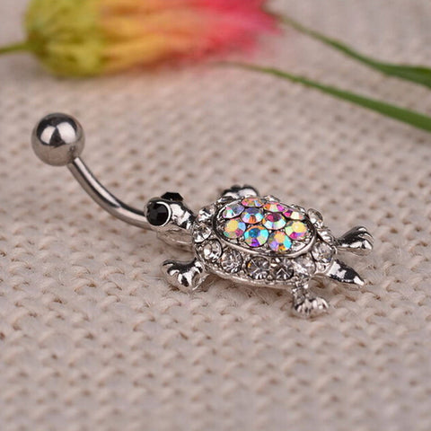 1pc Turtle Navel Nail Cute Multicolor Body Piercing Crystal Turtle Dangle  Belly Button Ring Bar Bijou Statement Body Jewelry