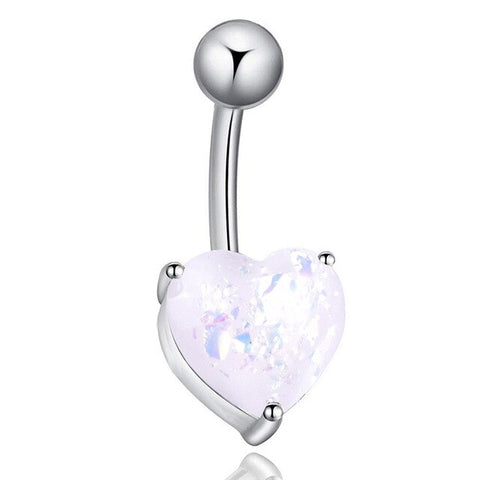 Surgical Steel Navel Belly Button Ring Opal Glitter Heart Piercing Navel Nail TT@88